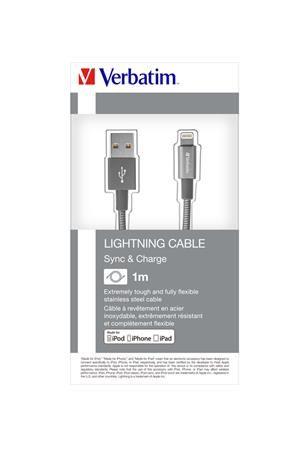 USB kábel, lightning, 100 cm, VERBATIM, sivý