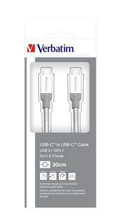 USB kábel, USB-C 3.1 - USB-C , 30 cm, VERBATIM, strieborná
