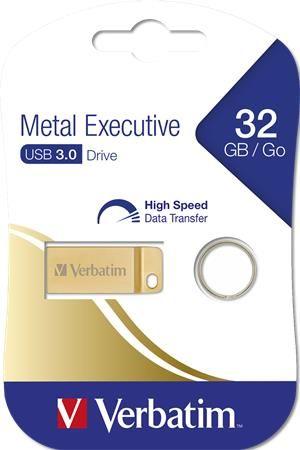 """USB kľúč, 32GB, USB 3.0,  VERBATIM """"Executive Metal"""" zlatá"""
