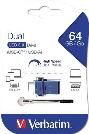 """USB kľúč, 64GB, USB 3.0+USB-C adapter, VERBATIM, """"DUAL"""""""