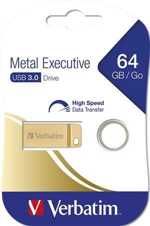 """USB kľúč, 64GB, USB 3.0,  VERBATIM """"Executive Metal"""" zlatá"""