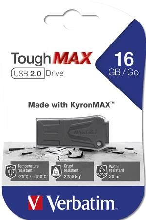 "USB kľúč, extra odolný, 16GB, USB 2.0, VERBATIM ""ToughMAX"", čierna"
