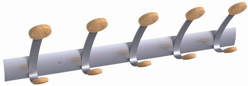 Vešiaky, nástenné, kovové, 5 ks, ALBA, strieborné