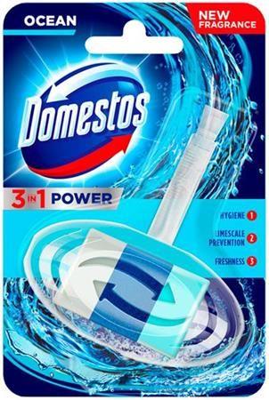 """WC blok, s voňavým gélom, 40 g, DOMESTOS """"3 in 1"""", oceán"""