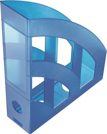 """Zakladač, plastový, 75 mm, HELIT """"Economy"""", priehľadný modrý"""