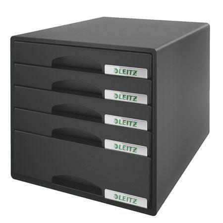 """Zásuvkový box na dokumenty, plastový, 5 zásuviek, LEITZ """"Plus"""", čierny"""