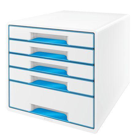 """Zásuvkový box na dokumenty, plastový, 5 zásuviek, LEITZ """"Wow Cube"""", biely/modrý"""