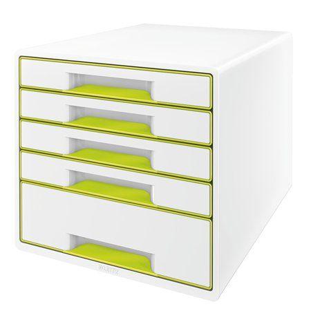 """Zásuvkový box na dokumenty, plastový, 5 zásuviek, LEITZ """"Wow Cube"""", biely/zelený"""