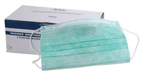 Zdravotnícka papierová maska, trojvrstvová, zelená, s gumou, 50 ks/bal
