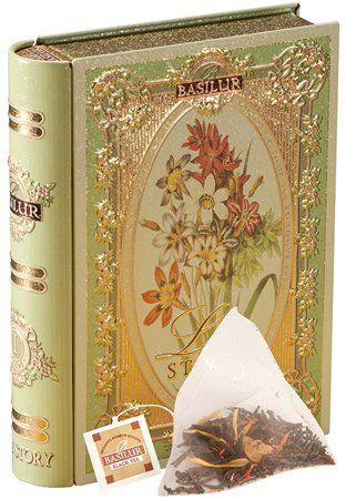 """Zelený čaj, 10 g,  kovová dóza v tvare knihy, """"BASILUR Love Story I."""" aróma bergamotu, vo"""
