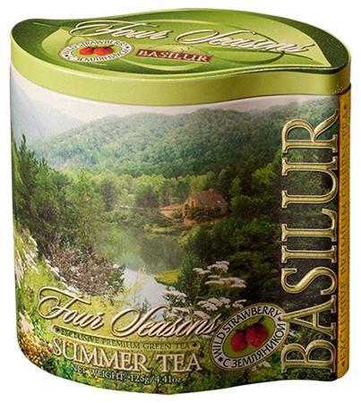 """Zelený čaj, 100 g, v kovovej dóze, """"BASILUR Summer"""", s kúskami jahôd"""
